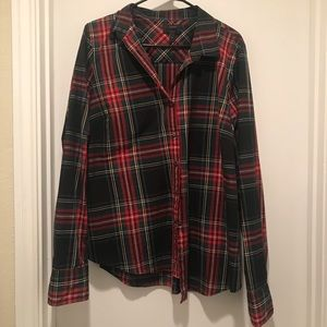 J. Crew red plaid button down size 16 Tall